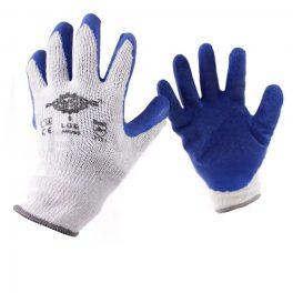 Blue latex grip glove