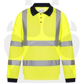 Hi Viz Long Sleeve Polo Shirts-6861