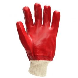 Red PVC knit-wristed glove-7910