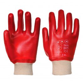 Red PVC knit-wristed glove-0